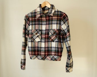 90s GRUNGE plaid FLANNEL bomber coat jacket