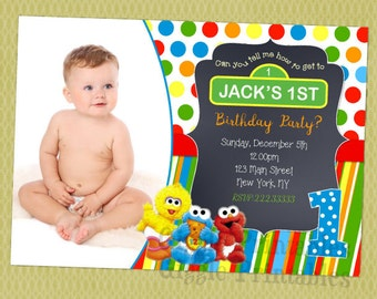 Baby Elmo Sesame Street First Birthday Invitation Digital