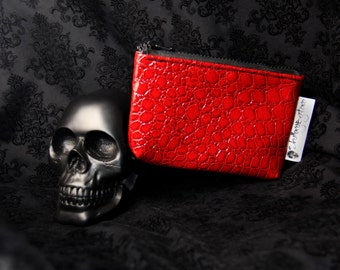 Red Vinyl Gator Clutch