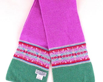 Mackie Scottish Wool Pink and Green Scarf Vintage
