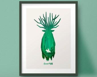 Princess Mononoke Poster Art Forest Spirit Print Studio Ghibli