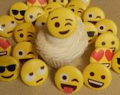 24 Emoticons Emoji Cupcake Cake Topper Rings Birthday Party Decoration