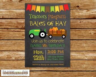 Tractors, Pumpkins, Bales of Hay Birthday Chalkboard Invitation | Green Tractor Invitation | Fall Birthday Invitation | Tractor Invite