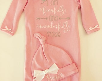 Newborn Girl Take Home Outfit- Baby Girls gown- monogrammed hat baby pink Fearfully and Wonderfully Made So sweet.