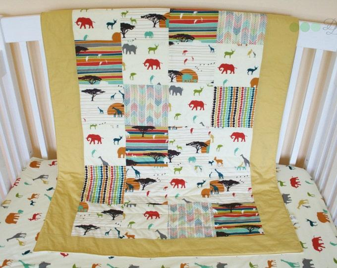 Featured listing image: Organic Baby Quilt,  Organic Toddler Quilt, Savannah, Elephants, Giraffes, Safari, Serengeti, Modern Quilt, Ready to Ship