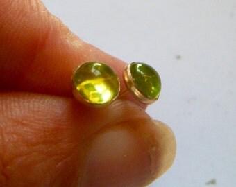 Peridot studs, peridot earrings,   elegant  6mm cabochon, August birthstone, august birthday