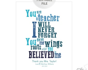 5x7 or 8x10 Personalized Teacher Appreciation PRINTABLE / End of Year Teacher Gift Ideas / Thank You / Blue / Digital File