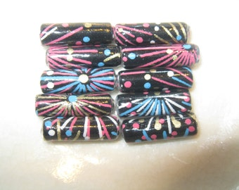 Fireworks Yuzen Japanese Paper Hand Rolled Paper Beads 3/4 Inch: Set of 10