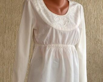 Vintage Embroidery COTTON Blouse/Tunic, size L-XL