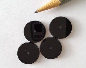 6 Black Onyx Stones with Center Hole 18mm