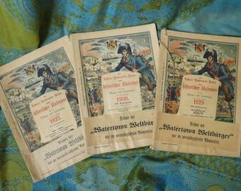 1922-1928-1929 German Language Almanacs-Calendars,Ads,Etc
