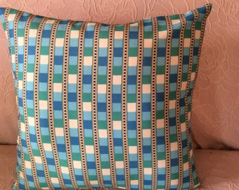 "Pillow Cover - ""Free Shipping"" - Blue Check  -  Toss Pillow, Throw Pillow - Home Decor - Handmade"