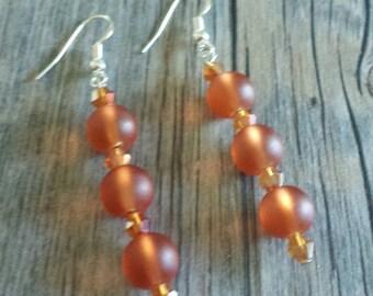 Orange Frosted Earrings, Apricot Colored Earrings, Dark Peach Earrings, Silver Earrings, Crystal Earrings, Dangle Earrings, Frosted Earrings