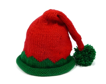 Baby Elf Hat Hand Knit  in Red and Green