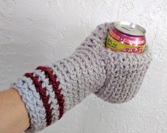 Beer Mitten . Beer Glove . Gray Maroon . Beer Gift . Tailgating . Ice Fishing . School Colors . Team Colors Mitten
