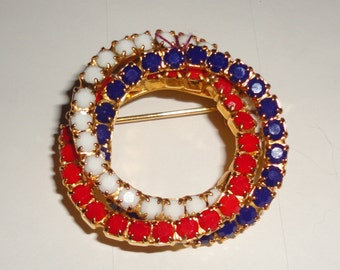 Patriotic Red White and Blue Brooch*