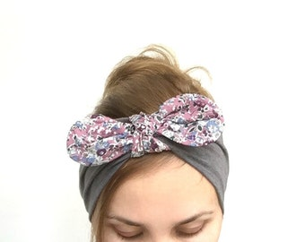 dolly bow headband top knot womens headband fabric wrap jersey head band with knot wide mommy me head wrap striped white liberty grey pink