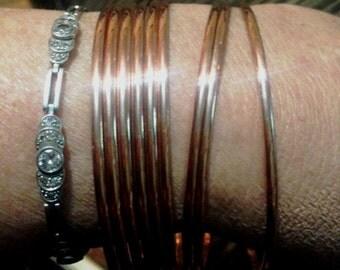 Copper bangles. special order. 2.50mm bangles. Narrow copper bangles- 9 bangles