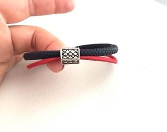 MENS HANDMADE BRACELET, personalized bracelet for men, boy bracelet, red and blue bracelet with magnetic clasp