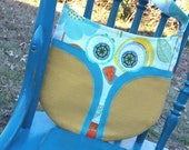 Owl Purse Yellow and Turquoise, Childs Purse, Owl Tote