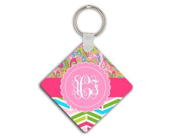 Chevron monogram key chain, Pink lime green blue, Girly accessory with Paisley, Pink keychain, Floral keychain with initials for her (1666)