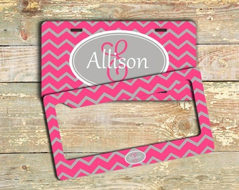 Preppy personalized vanity license plate or frame, Pink and gray, Chevron women's car tag, Monogram car accessories (9878)