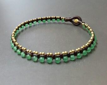 Green Jade  Ball  Mini Brass  Anklet