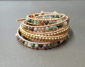 5  Wrap Jasper Brown Nude  Cotton Cord Brass Bead  Bracelet