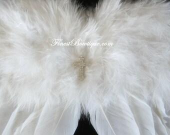 ANGEL WINGS with CROSS Wall Decoration - Photo Prop . Baby Girl Headbands .. Angel Wings .. Baby Bow Headband .. Newborn Headband