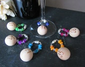 Magnetic Wine Charms  BINGO Multicolor Shell Bead and Swarovski Crystal With Magnetic Closure Set of 6 Unique Unusual
