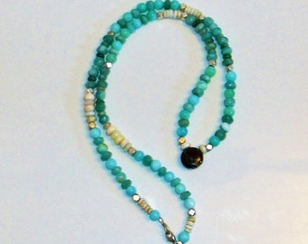 Beautiful Blue Green Opal and Amazonite Necklace