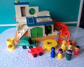 Vintage Fisher Price #937 Play Family Sesame Street Clubhouse The Count Little People Set Near Complete Collectible Toy