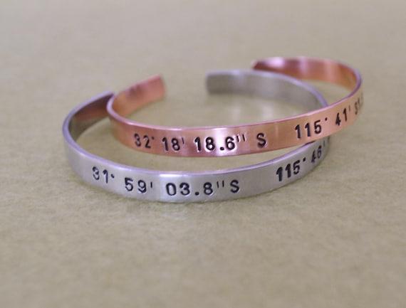 longitude latitude cuff bracelet copper or aluminum