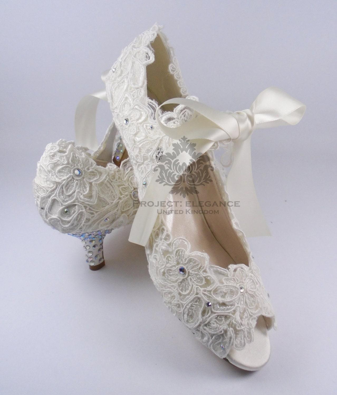 Ivory Lace Kitten Heel Shoes