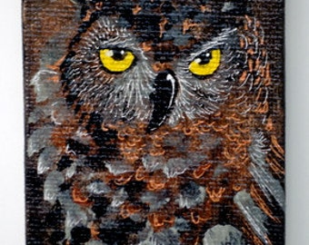 """Art Magnet ACEO size 2.5"""" x 3.5"""" Mini-Canvas Acrylic Owl with metallic highlights"""