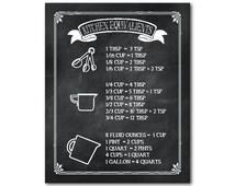 Kitchen Equivalents Chalkboard Print - Kitchen Wall Art -Typography Housewarming Gift - Kitchen conversion equivalent measurement poster
