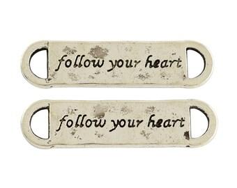 Quote Connectors Link Antiqued Silver Follow Your Heart Wholesale Pendants Bracelet Connectors 25 pieces