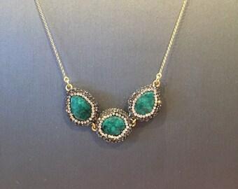 Three Stone Emerald Necklace