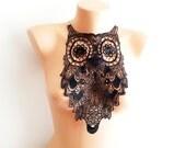 FREE SHIPPING OWL  collar necklace- Luxury Handmade Cotton Lace Applique Collar- black- Peter Pan collar- Woman- Woman Applique