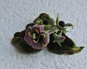 Belladonna Felt Brooch Felted Flower Pink Green Wool Flower Brooch