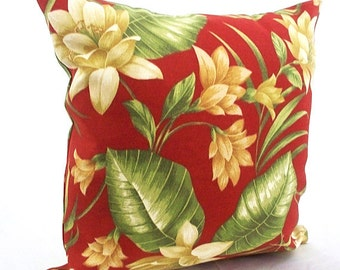Orange pillow cover, Floral pillow cover, Outdoor pillow covers,  Home decor garden indoor, Orange decorative red, tan white golden brown