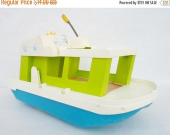 ON SALE Vintage, Fisher Price, Happy, Houseboat, Toy, Boat, Child's, 1972, No. 985, Nautical, Green, White, Blue