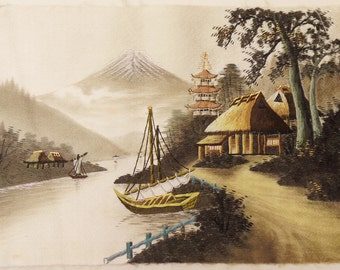 Vintage Japanese  Hand Embroidered Silk Thread Picture Art Mt. Fuji Japan, Asian,