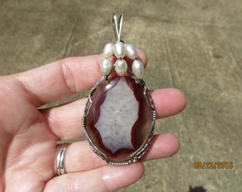 Red Agate with Crystal Quartz Designer Cabochon Wire Wrapped Pendant