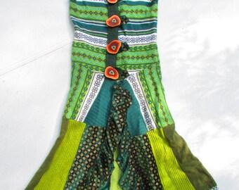 FreeSpirit~LOngsweaterVEst...Upcycled, Green, Manzanita Buttons