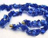 Cobalt Blue Eyeglass Chain- Crocheted Ladder Ribbon