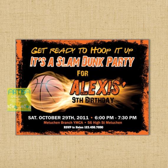 Basketball Birthday Invitation Printable File DIY Basketball