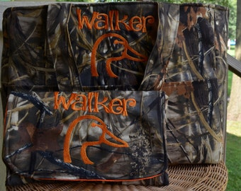 Handmade Personalized Mega Mom Grass camo Duck hunting bag with matching diaper clutch