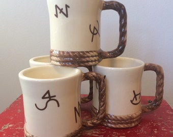 Ceramic Ranch Cowboy Brand Style Mugs