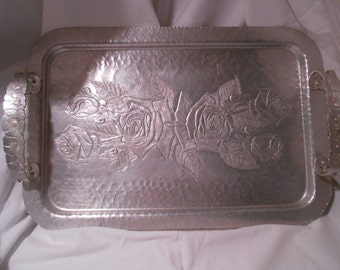 Continental Aluminum Serving Tray Vintage Hammered Metal Tray